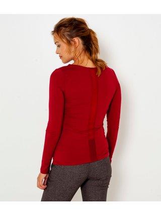 Vínové tričko s průsvitným detailem na zádech CAMAIEU