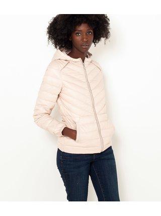 Světle růžová zimní prošívaná péřová bunda CAMAIEU