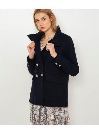 Tmavomodrý krátky kabát s prímesou vlny CAMAIEU