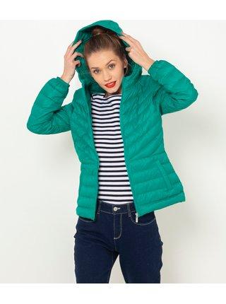 Zelená zimná prešívaná páperová bunda CAMAIEU