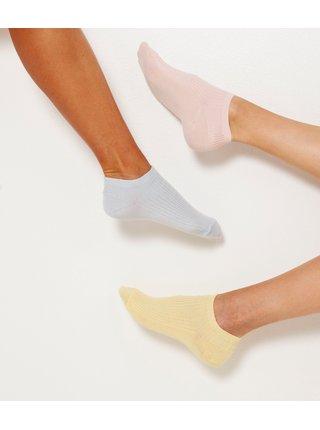 Sada tří párů ponožek v žluté, modré a růžové barvě CAMAIEU