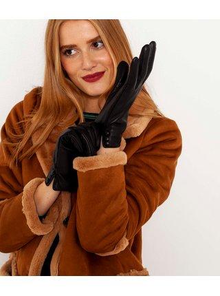 Černé kožené rukavice CAMAIEU