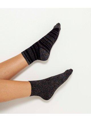 Tmavě šedé pruhované  ponožky CAMAIEU