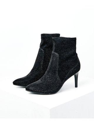 Černé třpytivé kotníkové boty na podpatku CAMAIEU