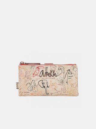Hnědo-béžová dámská vzorovaná peněženka Anekke Safari Fusion