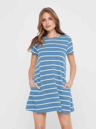 Modré pruhované šaty s kapsami ONLY May