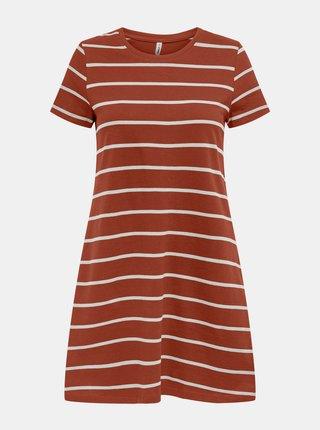 Hnedé pruhované šaty s vreckami ONLY May