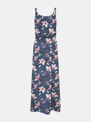 Modré kvetované maxišaty na ramienka ONLY Nova