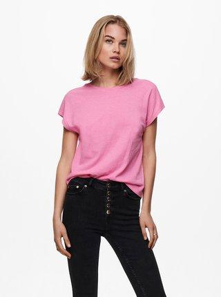 Růžové tričko s výstřihem na zádech ONLY Ama