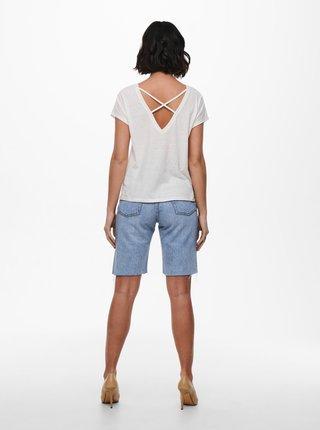 Biele tričko s výstrihom na chrbte ONLY Ama