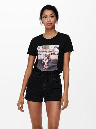 Čierne tričko s potlačou ONLY Lana