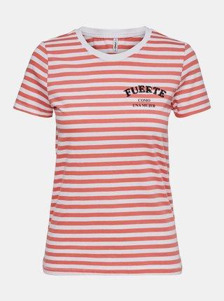 Bielo-oranžové pruhované tričko s potlačou ONLY Kita