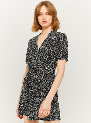 Čierne kvetované šaty s gombíkmi TALLY WEiJL