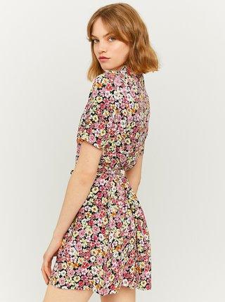 Černo-růžové květované šaty s knoflíky TALLY WEiJL