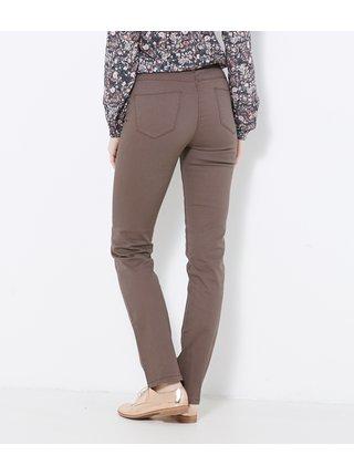 Hnědé slim fit kalhoty CAMAIEU