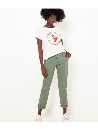 Zelené zkrácené straight fit kalhoty CAMAIEU