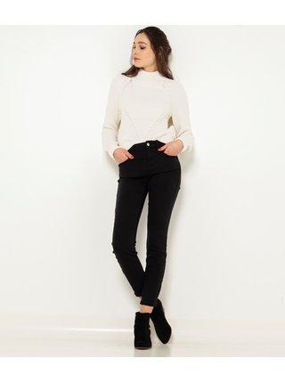 Černé zkrácené slim fit kalhoty CAMAIEU