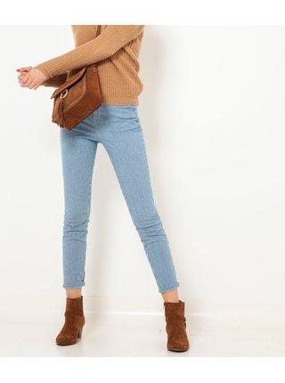 Modré pruhované zkrácené slim fit kalhoty CAMAIEU