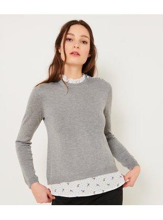 Šedý sveter s vsadkou CAMAIEU