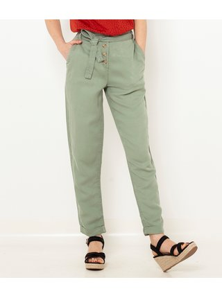 Zelené ľanové nohavice CAMAIEU