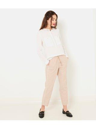 Béžové skrátené ľanové nohavice CAMAIEU