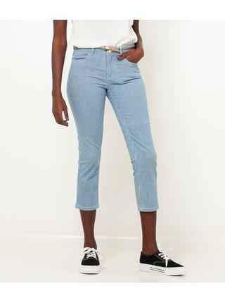 Modré 3/4 pruhované slim fit kalhoty CAMAIEU