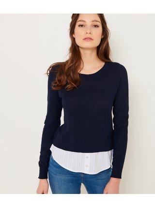 Tmavomodrý sveter s prímesou ľanu CAMAIEU