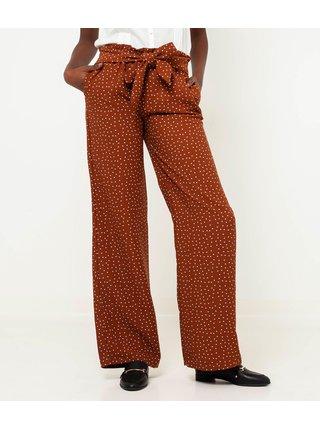 Hnedé široké vzorované nohavice CAMAIEU