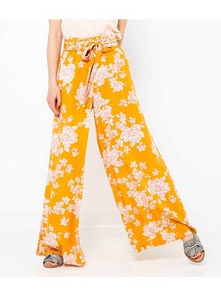 Horčicové široké kvetované nohavice CAMAIEU