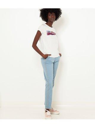 Modré zkrácené straight fit kalhoty CAMAIEU
