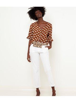 Bílé zkrácené straight fit kalhoty CAMAIEU
