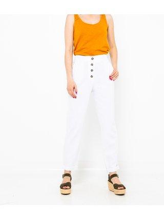 Bílé lněné straight fit kalhoty CAMAIEU