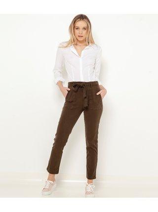 Khaki zkrácené kalhoty se zavazováním CAMAIEU