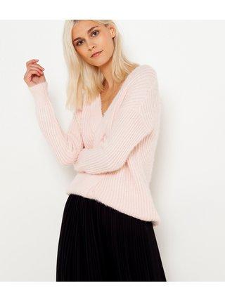 Světle růžový svetr s véčkovým výstřihem CAMAIEU