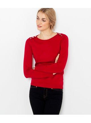 Červený svetr s ozdobnými knoflíky CAMAIEU