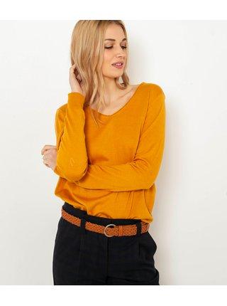 Hořčicový basic svetr CAMAIEU