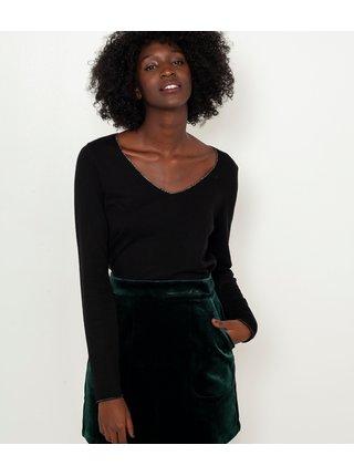 Čierne tričko s dlhým rukávom CAMAIEU