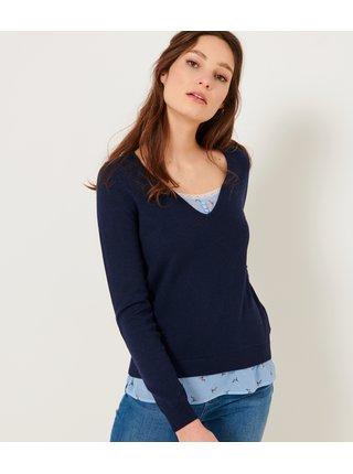 Tmavomodrý svetr s vsadkou CAMAIEU