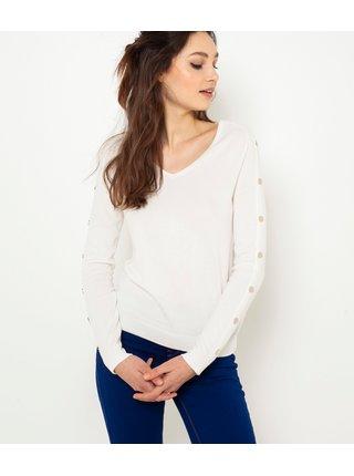 Bílý lehký svetr s ozdobnými detaily CAMAIEU