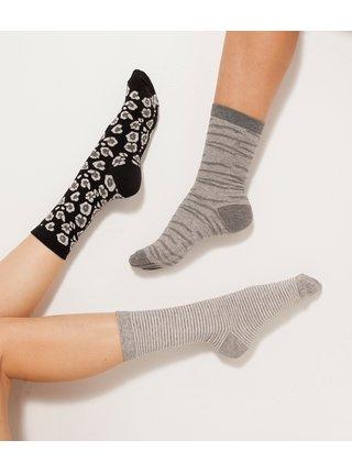 Sada tří párů vzorovaných ponožek v černé a šedé barvě CAMAIEU