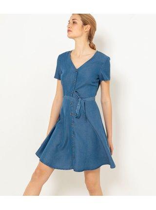Modré šaty se zavazováním CAMAIEU