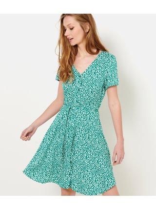 Zelené květované šaty CAMAIEU