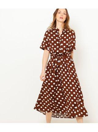 Hnědé puntíkované košilové midi šaty CAMAIEU