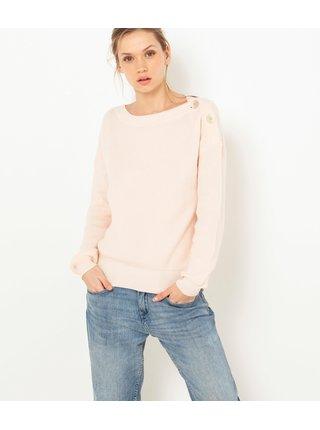 Světle růžový lehký svetr s příměsí vlny CAMAIEU