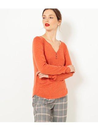 Oranžové tričko s dlhým rukávom CAMAIEU