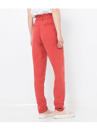 Červené kalhoty s vysokým pasem a s příměsí lnu CAMAIEU