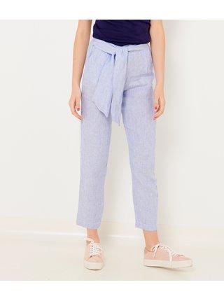 Světle modré zkrácené lněné kalhoty CAMAIEU