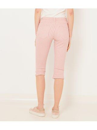 Světle růžové 3/4 pruhované kalhoty CAMAIEU