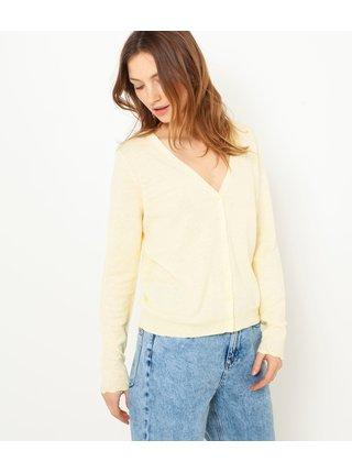 Žltý ľanový lehký sveter CAMAIEU