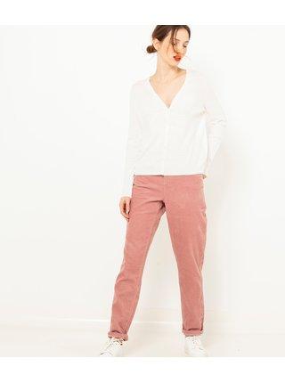 Bílý lněný lehký svetr CAMAIEU